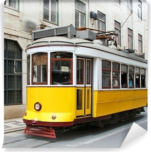 Old yellow Lisbon tram, Portugal Self-Adhesive Wall Mural