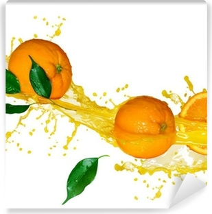Orange juice isolated on white Self-Adhesive Wall Mural