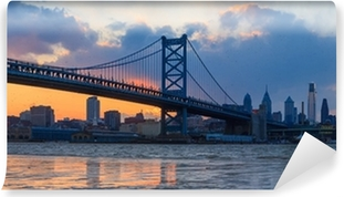 Panorama of Philadelphia skyline, Ben Franklin Bridge and Penn's Self-Adhesive Wall Mural