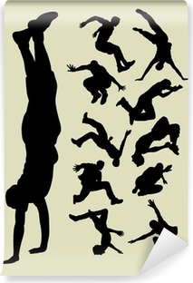 Parkour Silhouettes Self-Adhesive Wall Mural