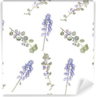 Pattern purple flowers. Field flowers, fine grass pattern watercolor Self-Adhesive Wall Mural
