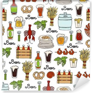 Pattern with hand drawn colored bottle and glass of beer, snacks in sketch style. Pattern on the theme of beer Self-Adhesive Wall Mural