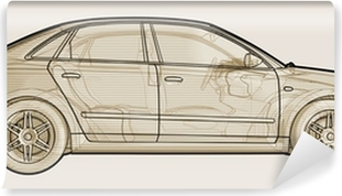 Perspective sketchy illustration of an Audi A4. Self-Adhesive Wall Mural