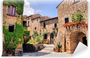Picturesque corner of a quaint hill town in Italy Self-Adhesive Wall Mural