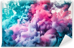 Pink and blue paint splash Self-Adhesive Wall Mural