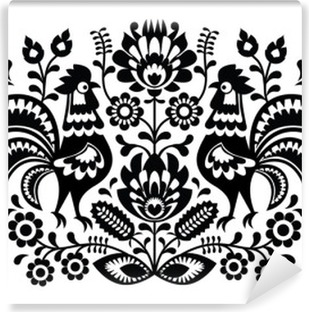 Polish floral embroidery with roosters pattern Self-Adhesive Wall Mural