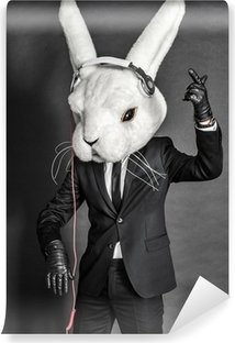 Rabbit Dj in balck suit on dark background Self-Adhesive Wall Mural