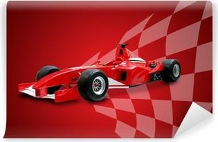 red formula one car and racing flag Self-Adhesive Wall Mural
