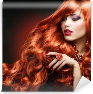 Red Hair. Fashion Girl Portrait. long Curly Hair Self-Adhesive Wall Mural