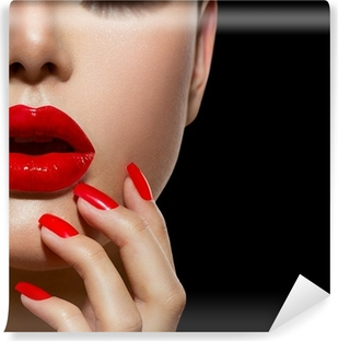 Red Sexy Lips and Nails closeup. Manicure and Makeup Self-Adhesive Wall Mural