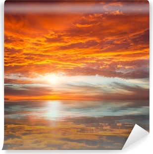 Reflection of Beautiful Sunset / Majestic Clouds and Sun above Self-Adhesive Wall Mural