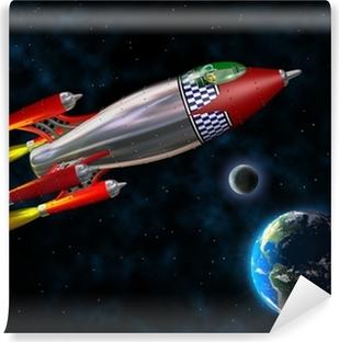 Retro rocket in space Self-Adhesive Wall Mural