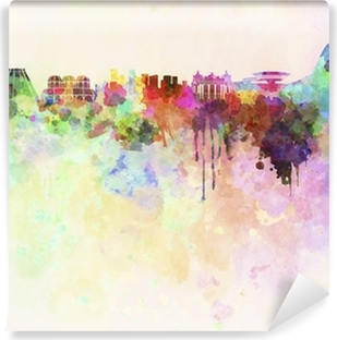 Rio de Janeiro skyline in watercolor background Self-Adhesive Wall Mural