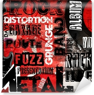 Rock Music poster on red wall Self-Adhesive Wall Mural