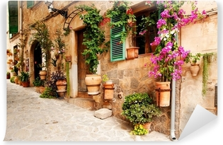 Romantic street with flowers and greenery Self-Adhesive Wall Mural