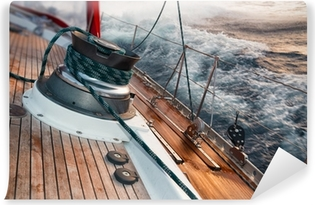 sail boat under the storm, detail on the winch Self-Adhesive Wall Mural