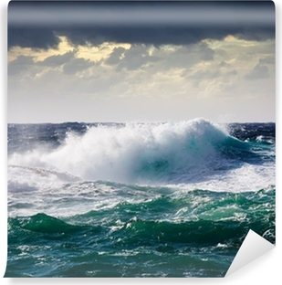 sea wave during storm Self-Adhesive Wall Mural