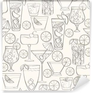 Seamless cocktail pattern Self-Adhesive Wall Mural