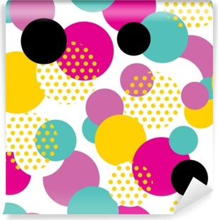 Seamless geometric pattern in retro 80s style. Pop art circle pattern on white background. Self-Adhesive Wall Mural