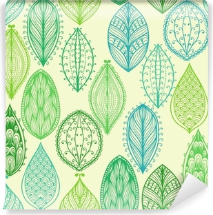 Seamless hand drawn vintage pattern with green ornate leaves Self-Adhesive Wall Mural