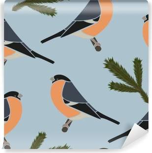 Seamless pattern bullfinch blue, vector Self-Adhesive Wall Mural