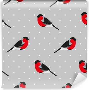 Seamless pattern in polka dot with bullfinch. Ornament for textile and wrapping. Vector background. Self-Adhesive Wall Mural