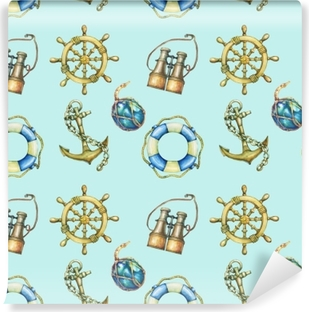 Seamless pattern with nautical elements, isolated on pastel turquoise background. Old binocular, lifebuoy, antique sailboat steering wheel, ship anchor. Watercolor hand drawn painting illustration. Self-Adhesive Wall Mural