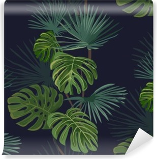 Seamless pattern with tropical leaves. Hand drawn background. Self-Adhesive Wall Mural
