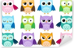 Set of 12 cartoon owls with various emotions Self-Adhesive Wall Mural