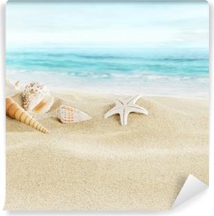 Shells on sandy beach Self-Adhesive Wall Mural