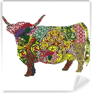 silhouette of a Scottish highland cow in Celtic patterns Self-Adhesive Wall Mural