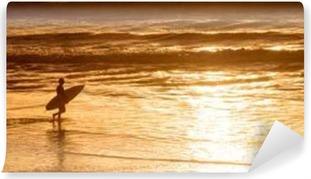 Silhouette of a surfer at sunset on the atlantic ocean in Lacanau France, panorama and surf concept Self-Adhesive Wall Mural