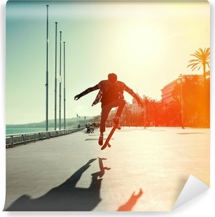 Silhouette of skateboarder Self-Adhesive Wall Mural