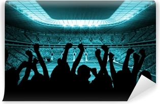 Silhouettes of football supporters Self-Adhesive Wall Mural
