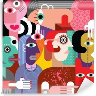 Six women and dog Self-Adhesive Wall Mural