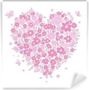 Sketch of floral heart shape for your design Self-Adhesive Wall Mural