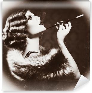 Smoking Retro Woman. Vintage Styled Black and White Photo Self-Adhesive Wall Mural