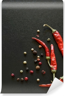 Spices on a blackboard Self-Adhesive Wall Mural