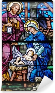 stained glass widow of nativity Self-Adhesive Wall Mural