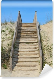 Stairway to a public beach access vertical Self-Adhesive Wall Mural