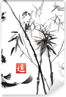 Stencils birds, fish and plants in the eastern style  Wallpaper