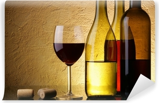 Still-life with three wine bottles and glass Self-Adhesive Wall Mural
