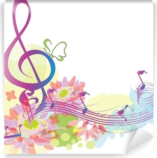 Summer music with decorative treble clef Self-Adhesive Wall Mural
