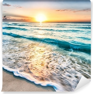 Sunrise over Cancun beach Self-Adhesive Wall Mural