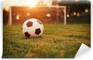 Sunset on the soccer field Self-Adhesive Wall Mural