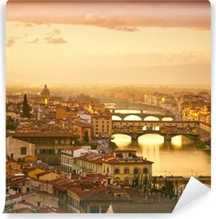 Sunset view of bridge Ponte Vecchio. Florence, Italy Self-Adhesive Wall Mural