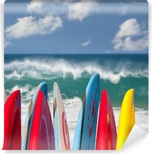Surfboards at Lumahai beach Kauai Self-Adhesive Wall Mural