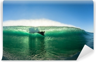 Surfing Bodyboarder Inside Hollow Wave Colors Self-Adhesive Wall Mural