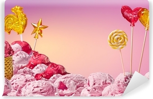 sweet magical landscape of ice cream and candy Self-Adhesive Wall Mural