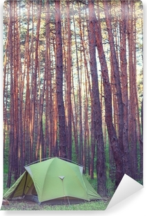 Tent in the forest Self-Adhesive Wall Mural